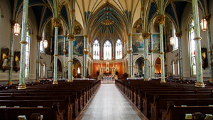 Fun things to do in Savannah : Sanctuary of Cathedral St John Baptist in Savannah, GA.