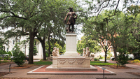 James Oglethorpe Monument in Chippewa Square in Savannah GA.
