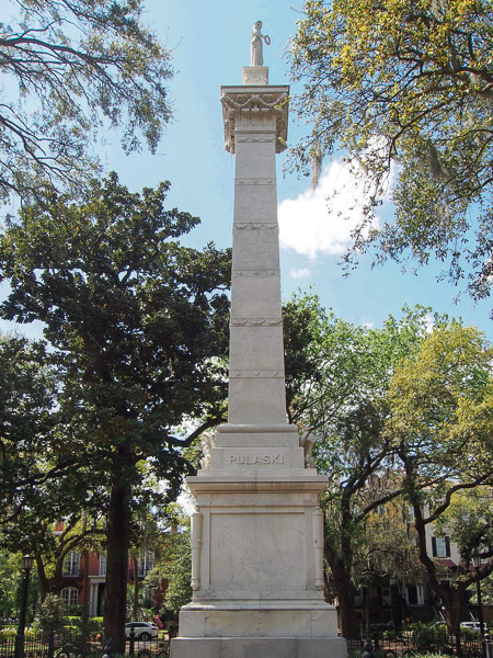 Fun things to do in Savannah : Monument to Brigadier General Kazimierz Pulaski in Savannah GA.