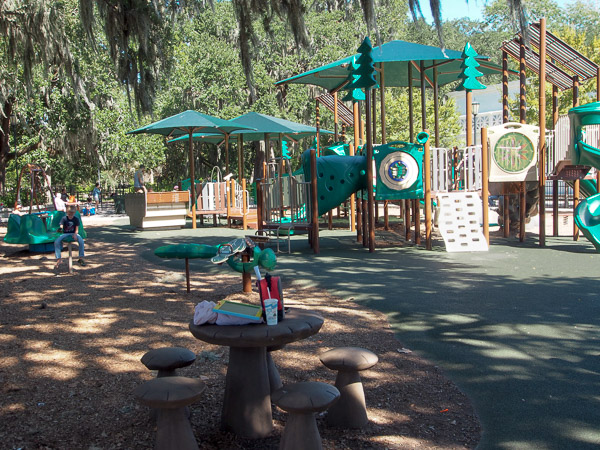 Fun things to do in Savannah : Forsyth Park Playground in Savannah GA.