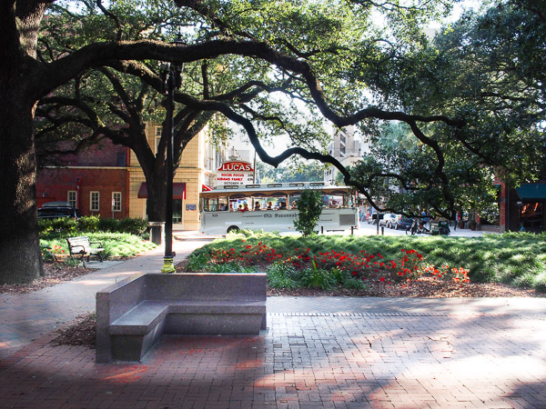 Fun things to do in Savannah : Reynolds Square in Savannah GA.