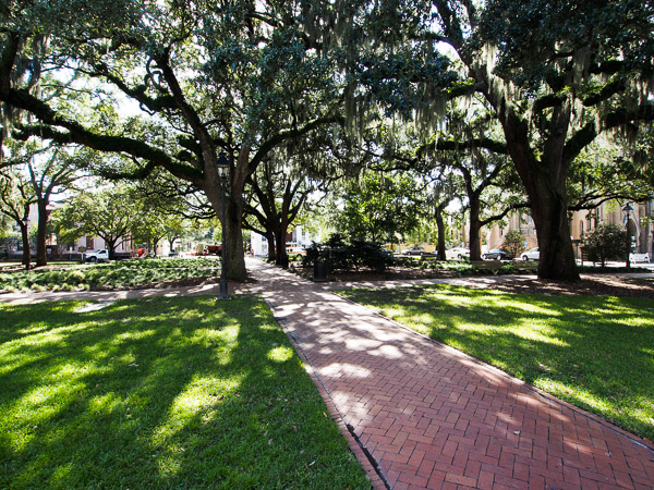 Fun things to do in Savannah : Calhoun Square in Savannah, GA.