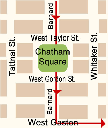 Fun things to do in Savannah : Chatham Square Map Day 1.
