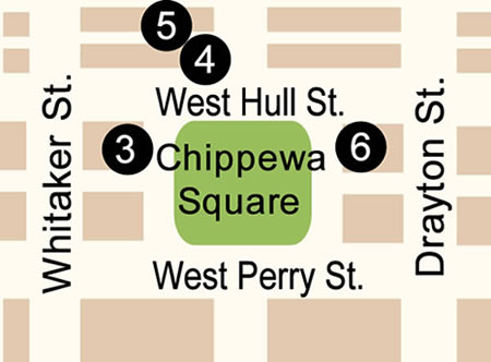 Fun things to do in Savannah : Chippewa Square Map in Savannah, GA.