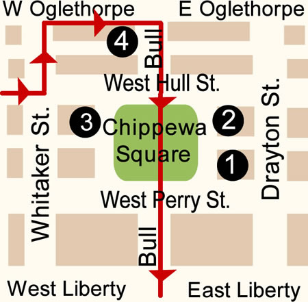 Fun things to do in Savannah : Chippewa Square Map Day 2.