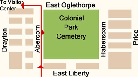 Fun things to do in Savannah : Colonial Park Cemetery Map Day 2.