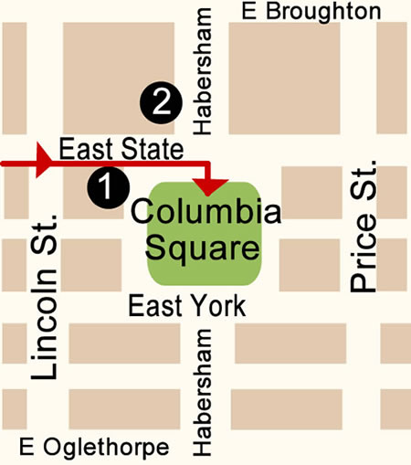 Fun things to do in Savannah : Columbia Square Map Day 2.