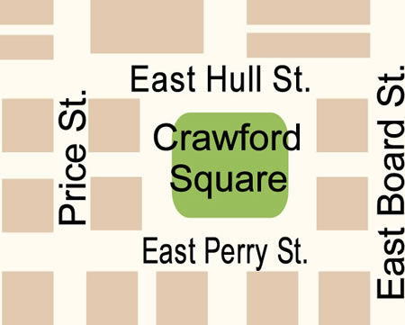 Fun things to do in Savannah : Crawford Square Map in Savannah GA.