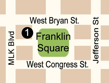 Fun things to do in Savannah : Franklin Square Map 449x341