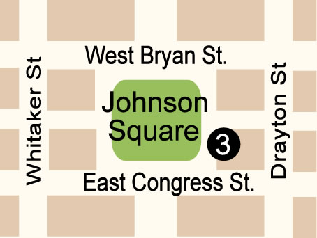 Fun things to do in Savannah : Johnson Square Map in Savannah GA.