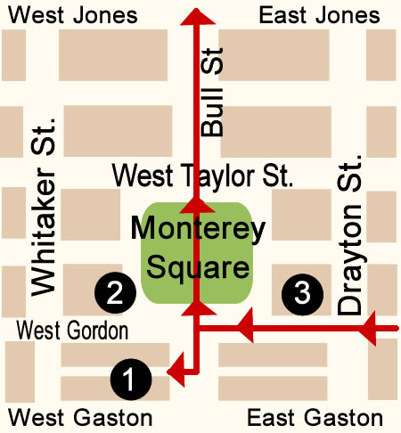 Fun things to do in Savannah : Monterey Square Map Day 1.