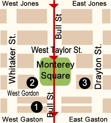 Fun things to do in Savannah : Montery Square Map Day 2.