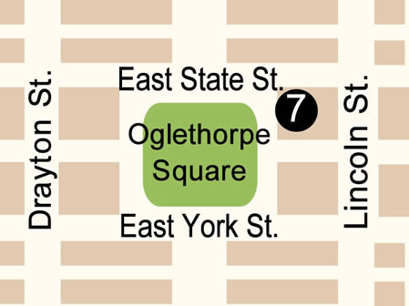 Fun things to do in Savannah : Map of Oglethorpe Square in Savannah GA.