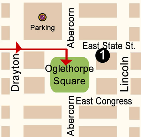 Fun things to do in Savannah : Oglethorpe Square Map Day 2.