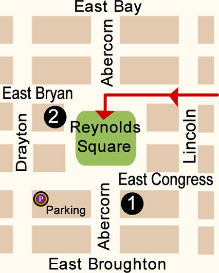 Fun things to do in Savannah : Reynolds Square Map Day 2.