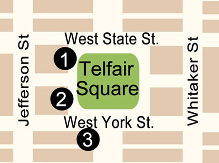 Fun things to do in Savannah : Telfair Square Map in Savannah, GA.