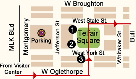 Fun things to do in Savannah : Telfair Square Map Day 2.