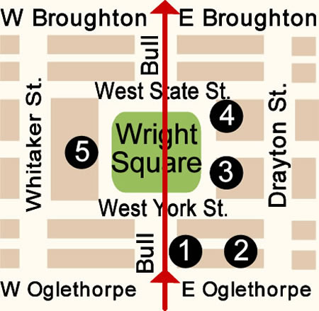 Fun things to do in Savannah : Wright Square Map Day 1.