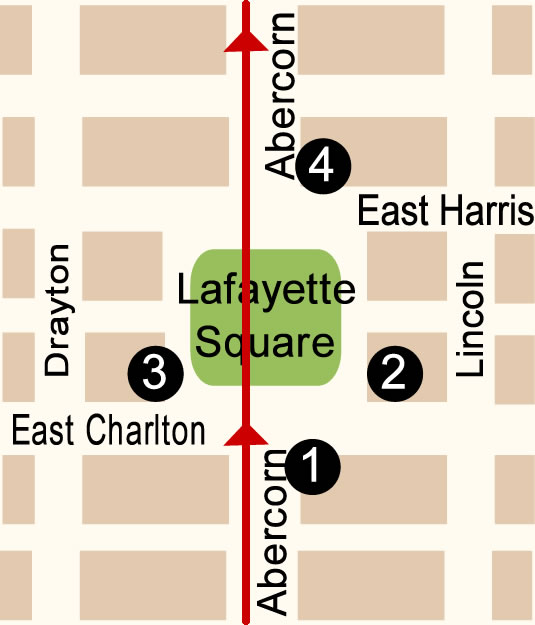 Fun things to do in Savannah : Lafayette Square Map Day 2.