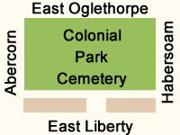 Colonial Park Cemetery Map in Savannah GA.